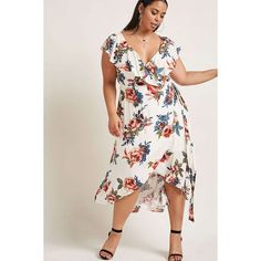 Forever21 Soieblu Floral High-Low Dress ($58) ❤ liked on Polyvore featuring plus size women's fashion, plus size clothing, plus size dresses, cream, pink hi low dress, pink floral dress, pink dress, floral high low dress and pink wrap dress