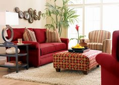Like the red couch but could I really do it? Confetti, Living Rooms | Havertys Furniture