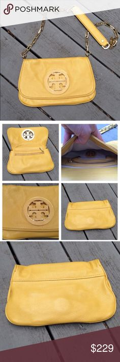 "TORY BURCH Amanda Clutch Crossbody Bag Mustard Beautiful clutch crossbody bag in mustard yellow. Gold plated hardware. Inside lined in tan. Inside pocket and front zipper pocket. Excellent like new condition, NO FLAWS that I can see. Used only three times! I always reach for my other crossbody. ▪️Comes with Tory burch Dust Bag! 11.5""w x 7""h ▪️10% bundle discount only Tory Burch Bags Crossbody Bags"