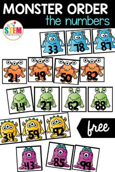 Your students will love to practice ordering 2-digit numbers with this playful batch of monsters. This math center is so much fun that students will want to play it over and over again!  This is a great choice if you are looking for some kindergarten teaching ideas for math! Make sure to grab the freebie and then continue the playful learning by snagging our entire pack of editable math games!
