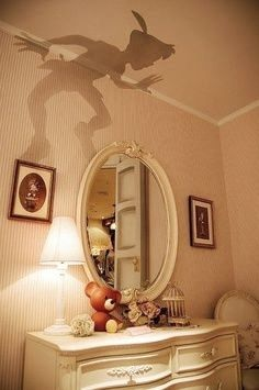 out Peter Pan's shadow and place it over a lamp shade. Cut out Peter Pan's shadow and place it over a lamp shade. Decoration Inspiration, Room Inspiration, Peter Pan Bedroom, Peter Pan Nursery, Peter Pan Shadow, Casa Disney, Disney House, Kids Bedroom, Bedroom Decor