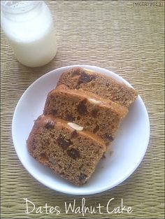 Date Walnut Cake ~ Low Fat