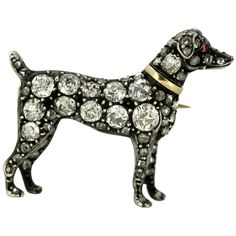 For Sale on - Antique Victorian yellow gold and silver dog brooch with diamonds and rubies Made in England Circa 1880 Tested positive for gold and sterling Dog Jewelry, Jewelry Art, Antique Brooches, Diamond Cuts, Dog Lovers, Victorian, Bling, Sterling Silver, Antiques