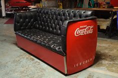 Vinatge Coke Fridge Couch by Detroit Vintage Garage in Woodstock.
