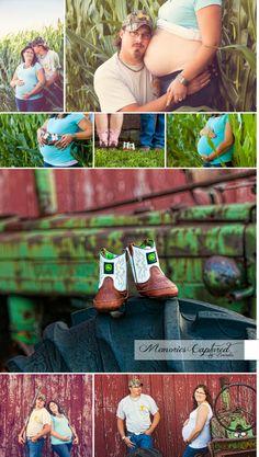 Maternity pictures, farm maternity, john deere maternity, john deere baby, tractor maternity - Memories Captured by Brenda