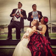 This was our prom picture this year :) Me holding my little sister, my date (and best friend) was Captain America and my sister's date was Superman!
