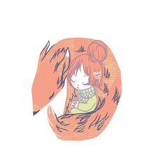 """Foxy Nap""  Digital. 2013. #flyokay   Tags: #illustration #whimsical #fantasy #art #kawaii"