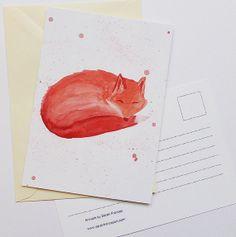 Sleeping Fox  Postcard by sarahfrancesart on Etsy, £1.50