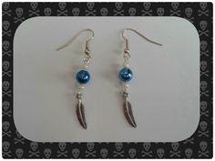 Tibetan Silver Feather Charm Drop Earrings / by HiddenTreasures13, £4.99