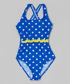 Look at this #zulilyfind! Blue Polka Dot Ruffle One-Piece - Girls by WINKI SWIM #zulilyfinds