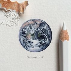 "Lorraine Loots-  Teeny tiny 4.543 billion-year-old planet Earth. From ""The Blue Marble"" photograph of Earth"