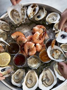 New Ideas For Seafood Platter Recipe Dipping Sauces Seafood Platter, Seafood Appetizers, Seafood Recipes, Cooking Recipes, Fresh Oysters, Fresh Seafood, Fish And Seafood, Local Seafood, Tapas