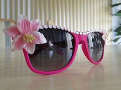Festival Clothing: Pink Flower Sunglasses on Etsy, $11.07