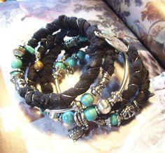 Shabby chic sari silk memory wire bracelet by Rhapsodybeaddesigns on Etsy
