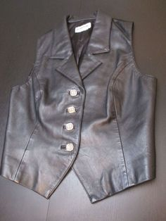WOMEN'S BAGATELLE BLACK 100% LEATHER SLEEVELESS VEST WITH GOLD BUTTONS SZ M #Bagatelle