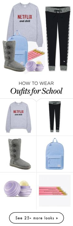 School by kit-kat-1987 on Polyvore featuring Victorias Secret, Herschel Supply Co., UGG Australia and Eos