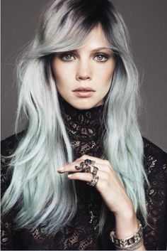 28 Gals Who Are Pulling Off Silver Hair; love the dark at the top, silver as the next color, then fade into light mint blue