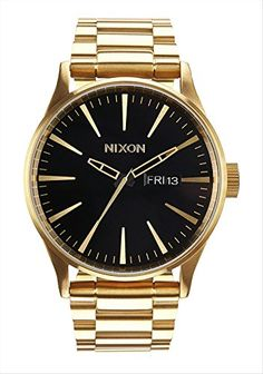 Men's Wrist Watches - Nixon A3561919 Mens Sentry SS Gold Green Sunray Watch >>> Details can be found by clicking on the image.