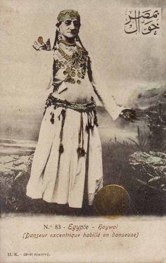 A male dancer dressed as a female, pre 1907