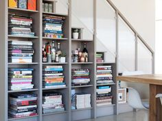 Built In Bookshelves Under Stairs Design Ideas, Pictures, Remodel and Decor Stair Bookshelf, Staircase Shelves, Staircase Design, Bookcase Bar, Bookshelves, Step Bookcase, Barrister Bookcase, Metal Bookcase, Small Bookcase