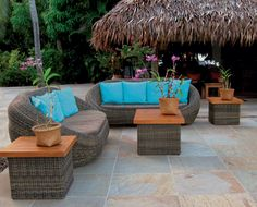 Sassuolo Arenite Moon Abrasive Porcelain Tile. Blue Cushions, Outdoor Cushions, Outdoor Seating, Outdoor Decor, Wicker Patio Furniture Sets, Backyard Furniture, Furniture Ideas, Exterior Tiles, Patio Umbrellas