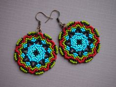 black and blue ombre flower seed bead earrings with a dark red
