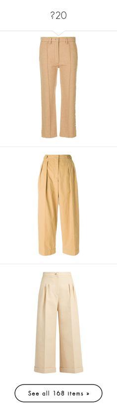 """""""옷20"""" by luvsola ❤ liked on Polyvore featuring pants, capris, brown, brown pants, crop length pants, cropped capri pants, brown crop pants, cropped trousers, brown wide leg trousers and wide-leg trousers"""