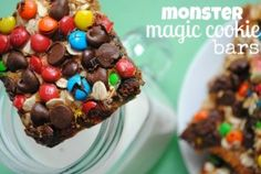 Something Swanky: desserts and designs.: Monster Magic Cookie Bars~ oh my gosh, Yummy! Monster Cookie Bars, Magic Cookie Bars, Magic Bars, All You Need Is, Just In Case, Just Desserts, Delicious Desserts, Yummy Food, Yummy Yummy
