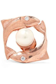 Aamaya By Priyanka - Pisces Rose Gold-plated, Faux Pearl And Cubic Zirconia Earring - One size