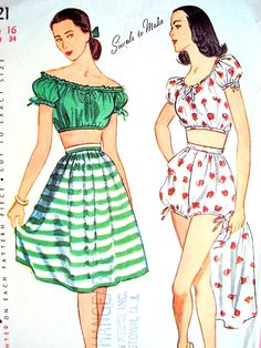 1940s Beach Wear Pattern Simplicity 1621 Play Suit Shorts, Midriff Top and Skirt Peasant Bohemian Style Bust 34 Vintage Sewing Pattern