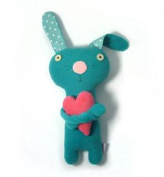 handmade stuffed animal toy – bunny with a heart on etsy – alelale | SmallforBig.com