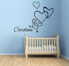 Wall Decals Girl Hanging On Hearts Girl by WallDecalswithLove