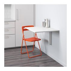 NORBERG / NISSE Table and 1 chair, white, orange