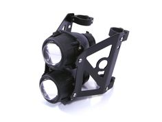 Dual Stacked Streetfighter Projector E-marked Black Motorcycle Motorbike Headlight Set For 44/45mm Forks