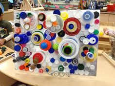 A closer view of the lovely cap art my kindergarten class designed.