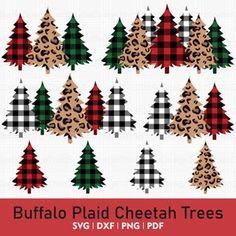 Christmas Tree SVG Cheetah Plaid Clipart Leopard Plaid SVG | Etsy