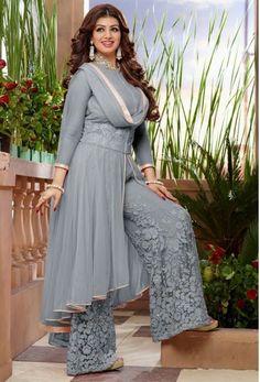 Designer Plazzo Suits - Grey