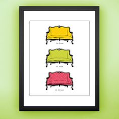 Vintage Sofa Giclee Print  Colorful 5x7 by thesweetunfolding, $12.00