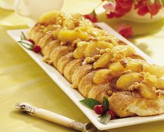 Apple-Cream Cheese Coffee Cake ~ Oh my... filled with cream cheese and topped with apples, cinnamon and walnuts