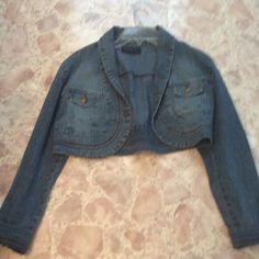 Crop jean jacket Crop Jean jacket. Never worn. No size but fits medium Vezucci Jackets & Coats Jean Jackets
