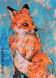 ACEO ORIGINAL Acrylic Pen Painting Artwork Wild Life Animal The Fox Sue Flask SOLD
