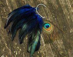 Feather Ear Cuff  Eye Of Night Sky by Njuu on Etsy, $25.00
