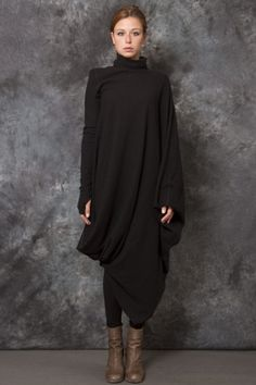 Asymmetrical Wool Dress - -PNP, fashion stores in Florence, 520 euro