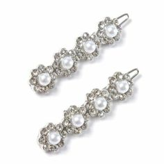 Pearl and Rhinestone Flower Hair Clips Set of 2 for the brides maids??