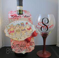 Art Impressions Girlfriends: handmade wine bottle tag. beach, 3-D, girls night out