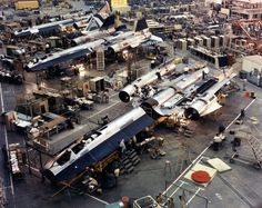 "SR-71 production line at the ""Skunk Works"""