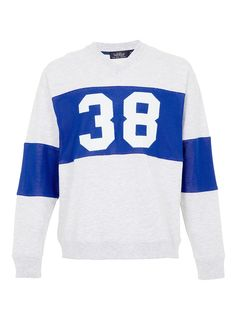 Frost marl long sleeve sweatshirt with '38' blue mesh printed detail with an oversized fit.