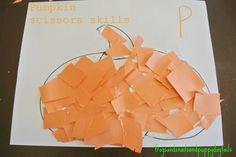 P is for Pumpkin( pumpkin poem, scissor skills, &color/work sheet) - FSPDT