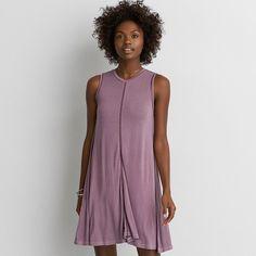 AE Hi-Neck Dress ($40) ❤ liked on Polyvore featuring dresses, purple, shift dress, american eagle outfitters dresses, american eagle outfitters, purple dress and purple shift dress