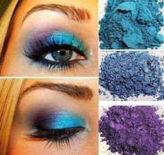 Colorful Eye Makeup Younique Moodstruck Mineral Pigments....Heavenly, Awestruck, and Regal  www.youniqueproducts.com/jaclynbriggs